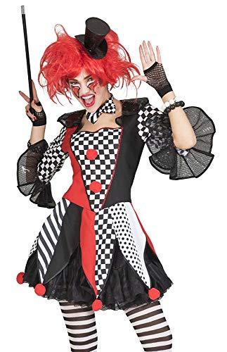 Generique - Kunterbuntes Harlekin-Kostüm Faschings-Verkleidung für Damen rot-schwarz-Weiss - M / L