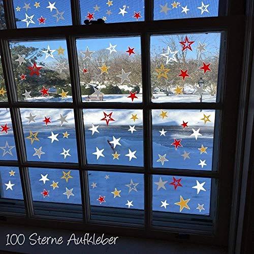 100 Sterne Aufkleber HM- AA194 Fenster selbstklebend Weihnachten Dekoration Fensterbilder Silber Rot oder Gold und viele weitere Farben