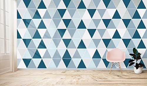 Carta da parati geometrica moderna, triangoli anni 70, blu, grigio,rosa, varie misure, arredamento moderno, stile vintage retrò, salone, camera da letto, vari ambienti, (200 x 133 cm, Blu)
