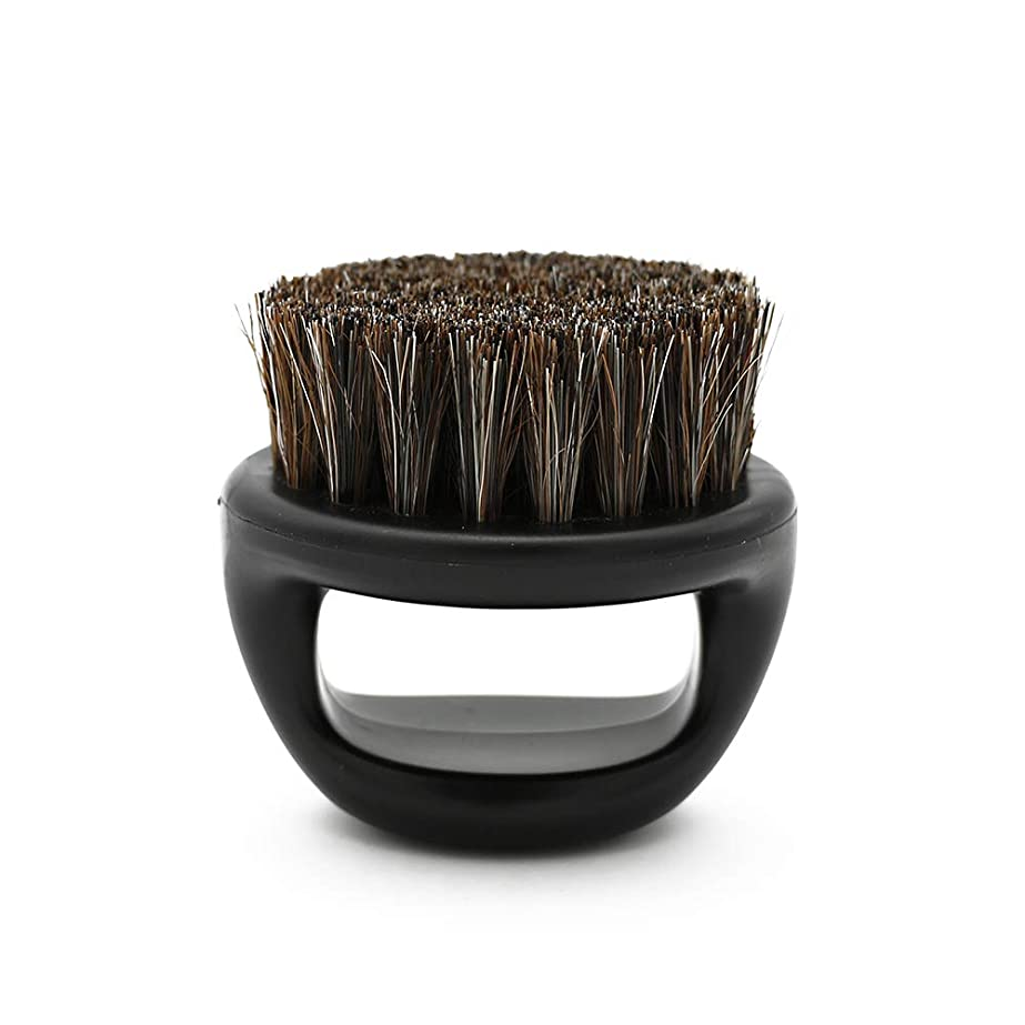 育成お誕生日試してみるCUHAWUDBA 1個リングデザイン馬毛メンズシェービングブラシプラスチック製の可搬式理容ひげブラシサロンフェイスクリーニングかみそりブラシ(ブラック)