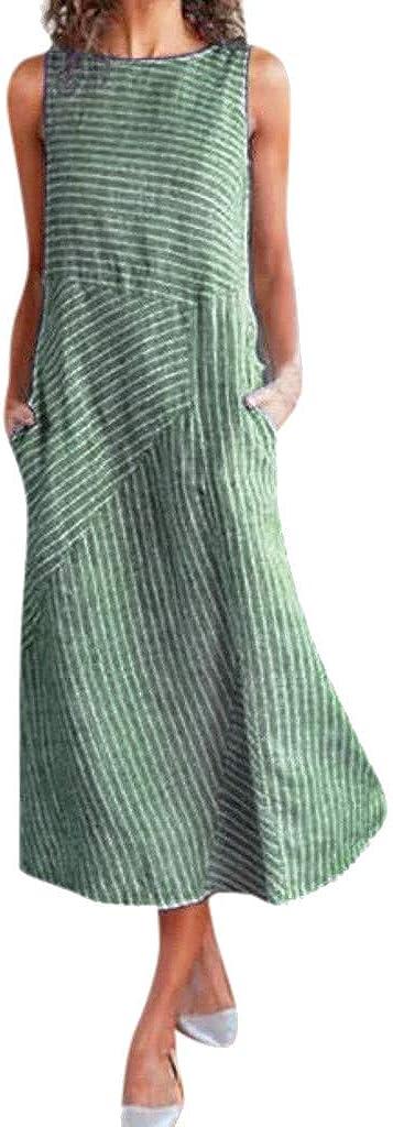 Women Summer Sleeveless Striped Flowy Dress Long Award wit Lowest price challenge Maxi Casual