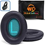 WC Premium Replacement Ear Pads for Bose Headphones Made by Wicked Cushions - Cloud Like Comfort - Compatible with QC15 / QC25 / QC2 / AE2 / AE2i / AE2W - Longer Lasting Durability (Blue L+R Screen)
