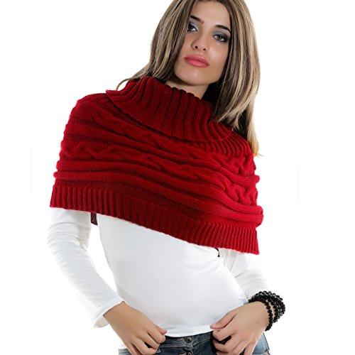 Toocool Coprispalle Donna Cappa Collo Sciarpa Bolero Tricot Dolcevita Poncho AS-0430[Rosso]
