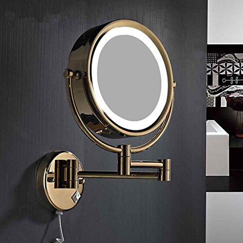 Miroirs Mural télescopique Pliant à Double Face avec Lampe Grande Bague de Zoom LED Lumineux à Double Face LED sans ongle Qui Rend Le Maquillage Plus Clair (Couleur : Or)