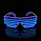 PINFOX Shutter EL Wire Neon Rave Glasses Flashing LED Sunglasses Light Up Costumes for 80s, EDM, Party RB03 (Purple - Blue)