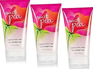 3 X Bath & Body Works Sweet PEA Creamy Body Wash 8 Oz Each (Lot of 3) by N/A