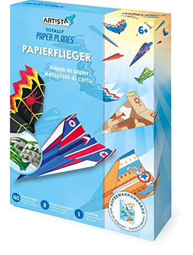 Artista 9301915 Bastelset Papierflieger, DIY-Kit für Kinder, Kreativset in praktischer Aufbewahrungsbox