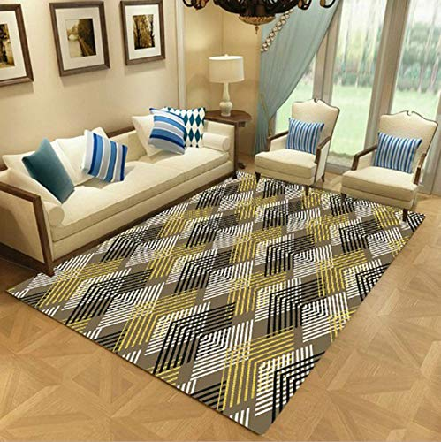 WDSZY Rectangle Polyester Carpet, Colorful Geometric Printed Modern Rugs, Living Room Stain-Resistant Rug Retro Home Decor 140X200Cm