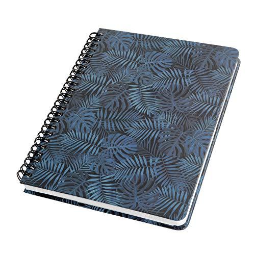 SIGEL JN602 Carnet de notes à spirale basic, 16,2 x 21,5 cm, pointillé, couverture rigide, motif jungle, bleu - Jolie