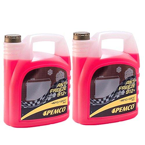 Pemco 2 x 5L Antifreeze 912+ (-40) / Kühlerfrostschutz Fertiggemisch G12+ Rot