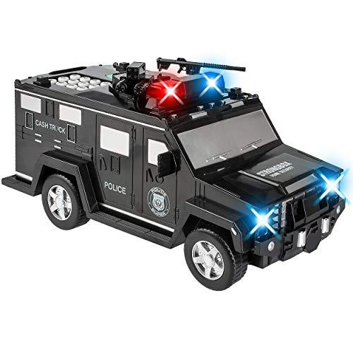 alles-meine.de GmbH elektronische Spardose - Geldtransporter Polizei - mit Fingerabdruck + Zahlenkombination / Passwort + Sound + Licht - digitaler Tresor Sparschwein für Kinder ..