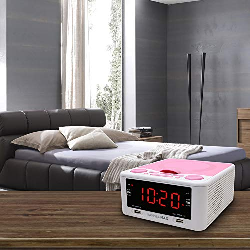 HANNLOMAX HX-300CD Top Loading CD Player, PLL FM Radio, Digital Clock, 1.2 Red LED Display, Dual Alarms, Dual USB Ports for 2.1A and 1A Charging, AC/DC Adaptor Included (White_Pink)