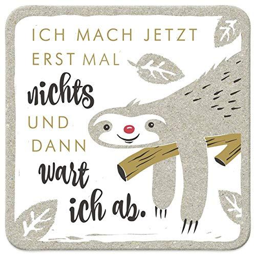 Happy Life Sheepworld, 45441 - Untersetzer, A11, Faultier, Ich Mach Jetzt erst Mal Nichts und Dann wart Ich ab, Kork, 9,5cm x 9,5cm