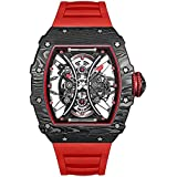 BEXEI Men's Open Heart Analog Sport Automatic Watch with Silicone Strap Red (Model:9030HKHD)