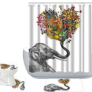 Amagical Colorful Elephant Flowers Decor 16 Piece Bathroom Mat Set Shower Curtain Set Bathroom Mat Contour Mat Toilet Cover Shower Curtain with 12 Hooks