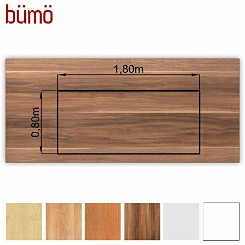 Bümö® stabile Tischplatte 2,5 cm stark - DIY Schreibtischplatte aus Holz | Bürotischplatte belastbar mit 120 kg | Spanholzplatte in vielen Formen & Dekoren| Platte für Büro, Tisch & mehr (Rechteck: 180 x 80 cm, Zwetschge)