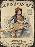 Kind to Animals Girl Dog Tin Sign Vintage Iron Painting Wall Decorative Trend Popular Poster Handmade Art for Bar Cafe Store Home Garage