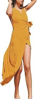 Beihxwe Bohemian Yellow Sexy Slim-fit Bow Tie Halter Summer Casual Cross Sundress
