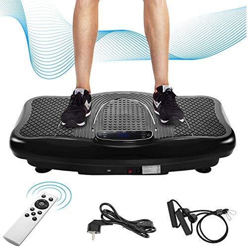 PovKeever Vibrationsplatte Vibrationstrainer Profi, 2D Wipp Vibration + Bluetooth inkl. Lautsprecher, Extra große Fläche & Kraftvoller Motor & Trainingsbänder & Fernbedienung im Fitnessgerät (schwarz)