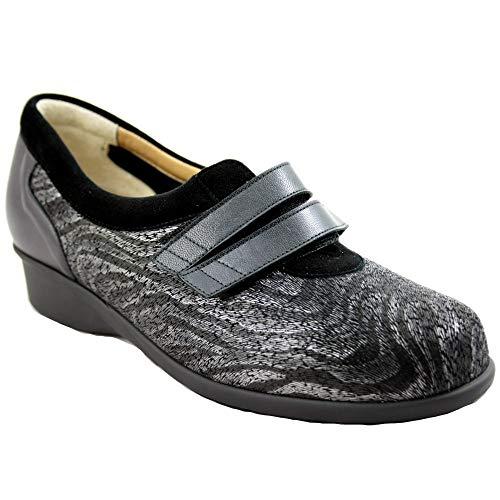 Alviflex 7813 - Zapatos de Mujer con Velcro Licra y Estampado Animal con Tonos Grises y Negros - 38, Negre