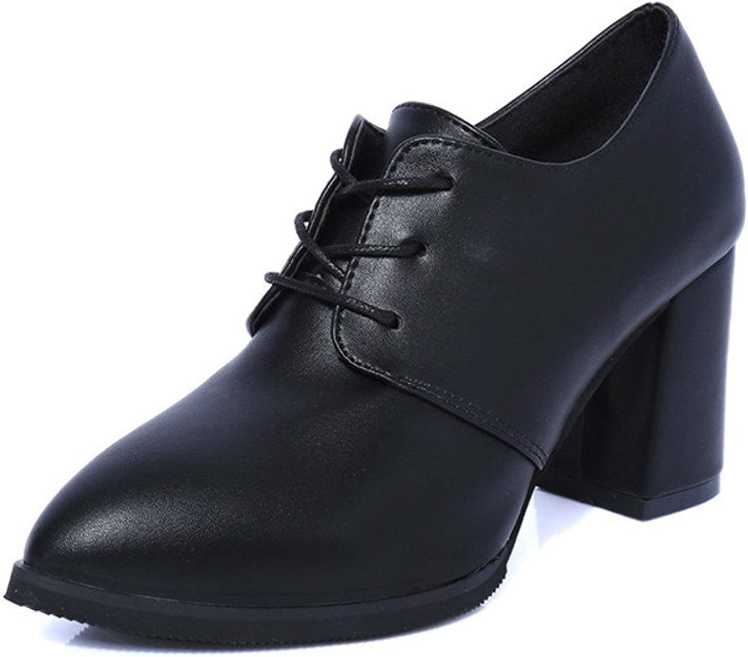 Retro rough high heel shoes of England Girls with pointy shoes Martin business dress shoes elegant small