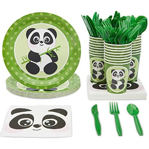 Animal Panda Birthday Party Supplies and Dinnerware Set (144 Pieces, Serves 24)