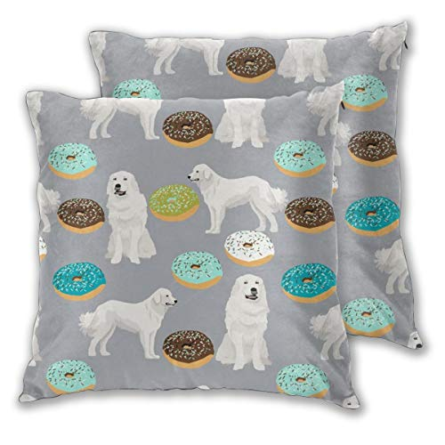 "NoneBrand Great Pyrenees Dogs Cute Donuts Best Great Pyrenees for Dog Lovers Cute Dogs Daily Decoration Sofa Bedroom Car Cushion Cover Zip Pillow Cover 18""x 18"", Set of 2"
