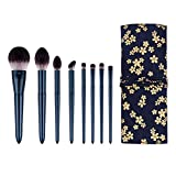 Ducare 8pcs Chinese Classical Makeup Brushes Set Shining Handle Plastic Cosmetic Brush Kit Powder/Blusher/Highlight/Eye Shadow/Lip Brush with Travel Cloth bag (Blue)