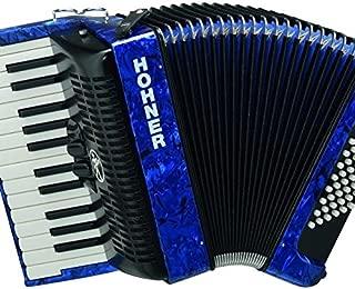Hohner Piano Accordion Bravo II 48, Pearl Dark Blue, with Gig Bag & Straps