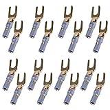 UCEC - Spinotto Y 45gradi, connettore a forcella per cavo da microfono, amplificatore fai da te 16pezzi (8nero 8rosso)