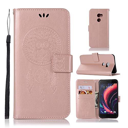 JARNING Kompatibel mit HTC One X10 Leder Schutzhülle PU Leder Wallet Flip Hülle Tasche Lederhülle mit Kartenfach für HTC One X10 (Roségold)