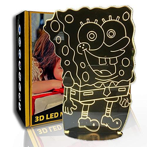 JINYI Bob Esponja de dibujos animados de luz nocturna 3D, lámpara de ilusión LED, lámpara para niños, E- Base para despertador (7 colores), Lámpara de dormitorio, Regalo de fiesta