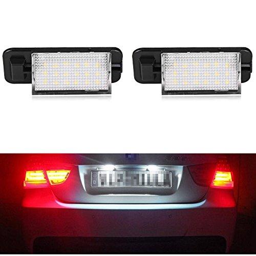PolarLander 1 Paar LED Kennzeichenbeleuchtung 2835 SMD 6000k Weiß 12V Nummernschild Lampen