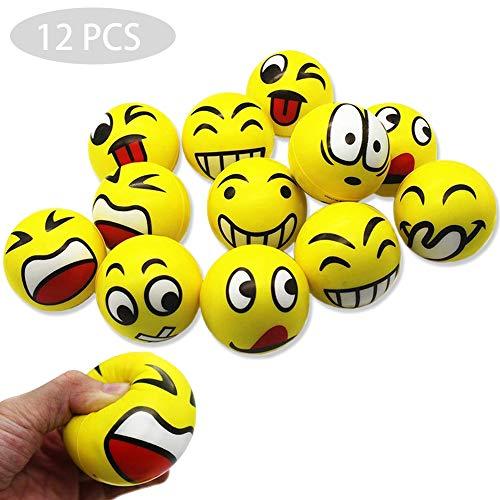 REYOK Anti-Stressball Emoji mit lustigen Gesichtern - 12 STK Smiley Knautschball Antistressball Stressbälle Knautsch Knet Smiley Grimasse Stressabbau Anti-Stress-Bälle