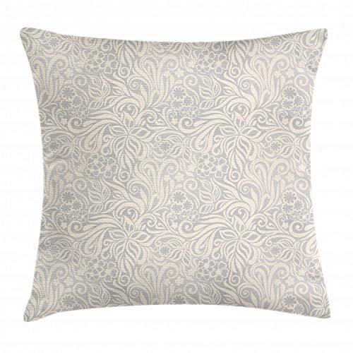 Funda de Cojine Funda de cojín de cojín de color marfil y gris, flores y hojas rizadas, adornos ornamentales antiguos Throw Cojín 45 X 45CM