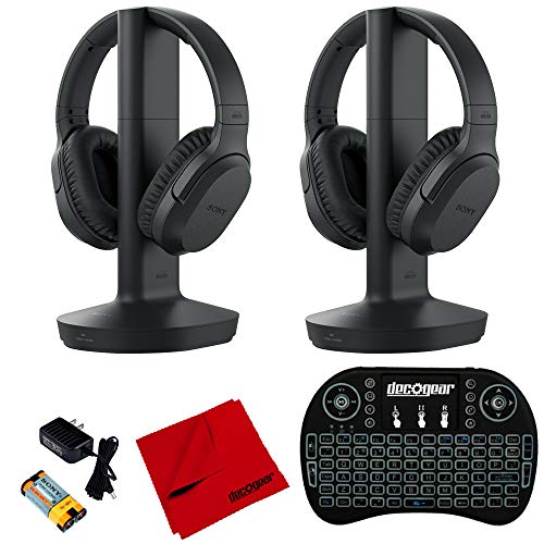 Sony RF400 Wireless Home Theater Headphones (2-Pack) w/Deco Gear Accessories Bundle