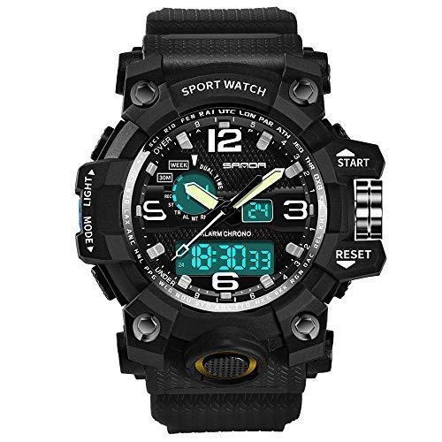 SANDA Relojes De Pulsera, Watch Watch Fashion Sports multifunción Estudiante Reloj electrónico Reloj de Cuarzo Impermeable para Hombres-Negro
