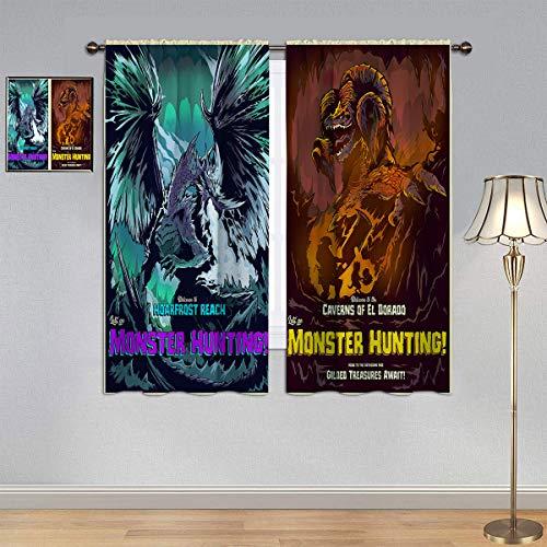 ARYAGO Kids Decor Cortina opaca aislante térmica Monster Hunter World Iceborne, Game Art Kulve Taroth & Velkhana impermeable cortina de ventana para dormitorio de niño 100 x 180 cm
