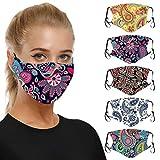 Salalooks Mundschutz Waschbar, Mode Muster Staubdicht Wiederverwendbar Atmungsaktive Baumwolle Mund-Nasen Gesichtsschutz für Damen und Herren
