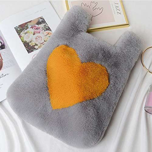 cdhgsh Faux Fur Casual Ladies Winter Handbags Heart-shaped Stitching Messenger Bag Handbag 5#