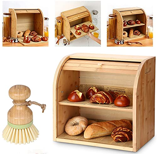 Bamboo Bread Box, 2 Layer Roll Top Bread Bin for Kitchen with Cleaning Brush, Large Capacity Bread Keeper with Removable Layer.15' x 9.8' x 14.2', 15 mm Thickness (Self-Assembly)