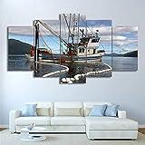 DGGDVP Pinturas de Pared Impresas en HD 5 Piezas Lienzo Arte Pintura de Barco de Vela Cuadros de Pared modulares Pintura enmarcada tamaño 1 con Marco