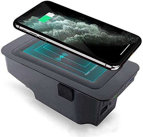 ZJYSM Cargador de automóvil inalámbrico para Volvo S90 V90 XC90 XC60 V60 S60 2020 2019 Panel de Accesorios de la Consola Central, 3 bobinas 10W Qi Fast Phone Charger Pad con para iPhone Samsung