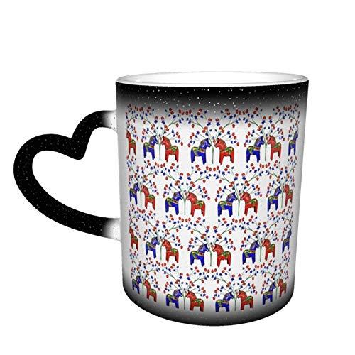 haiyou Floral schwedische Dala-Pferde verbessert Wickelbecher Kaffeetasse Design Keramik wärmeempfindlichen Becher Farbwechselbecher in den Himmel