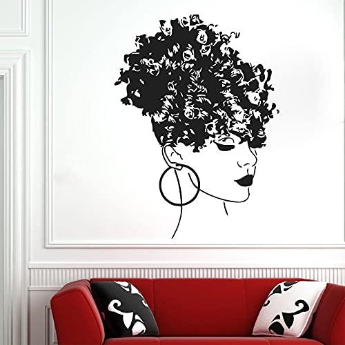 Calcomanía de pared estilo africano salón de belleza chica dormitorio decoración del hogar mujer cara africana afroamericana mural vinilo adhesivo de pared 42 x 57 cm