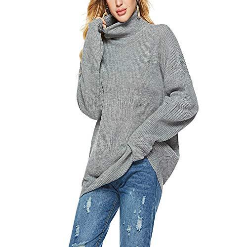XIEPEI Herbst und Winter Stehkragen Knit Bottoming Shirt gestreift Stehkragen Knit Bottoming Shirt Größe Pullover grau XL