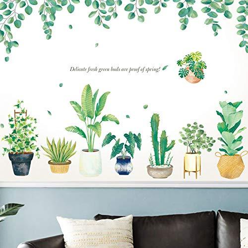 Planten Potglas Stickers Slaapkamer Warm Creatieve Muurstickers Restaurant Woonkamer Sofa Tv Achtergrond Muurdecoratie