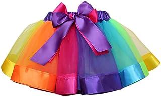 (スーパープラス)チュチュスカート キッズ レインボー カラフル 子供 TUTU3層チュールスカート パニエ 可愛い ダンスドレス ダンス衣装 文化祭/結婚式/卒園式/二次会 (S)