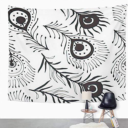 Y·JIANG Tapiz de pavo real, diseño de plumas de pavo real en blanco y negro retro vintage para dormitorio de casa, manta ancha para colgar en la pared para sala de estar, dormitorio, 203 x 152 cm
