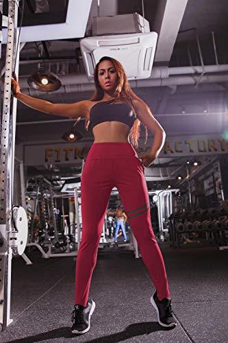 Yogabroek extra zachte legging met zakken voor dames,Jogging-trainingsbroek voor dames, yoga fitnessbroek-Red_S,Blouse met V-hals